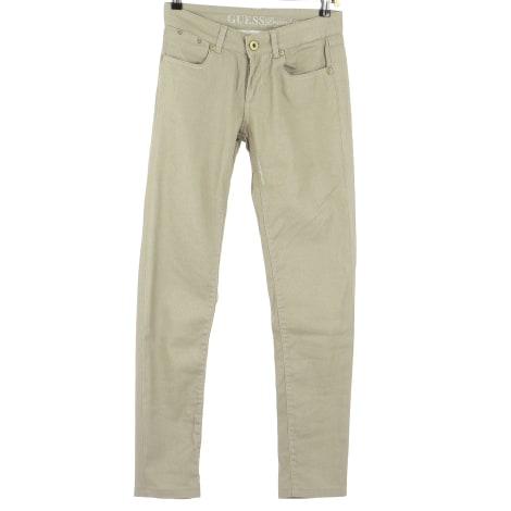 Pantalon droit GUESS Doré, bronze, cuivre