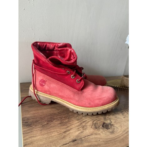 Bottines & low boots plates TIMBERLAND Rouge, bordeaux