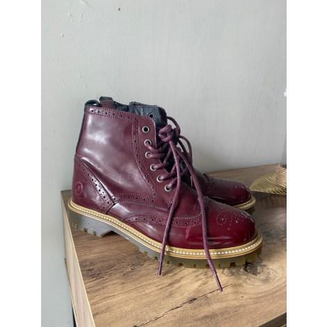 Bottines & low boots motards BRONX Rouge, bordeaux