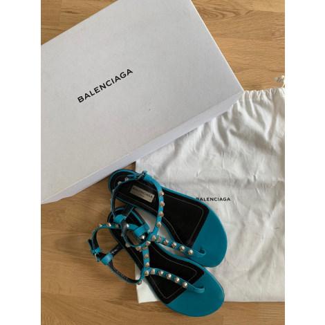 Sandales plates  BALENCIAGA Bleu, bleu marine, bleu turquoise