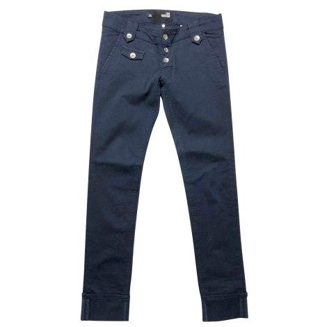 Pantalon slim, cigarette MOSCHINO Bleu, bleu marine, bleu turquoise