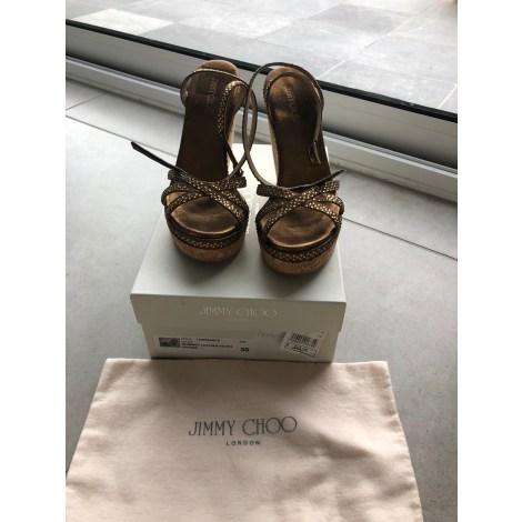 Escarpins compensés JIMMY CHOO Doré, bronze, cuivre