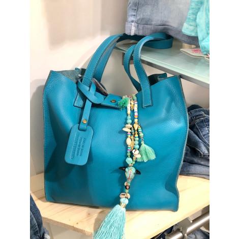 Sac à main en cuir CECILE WANG Bleu, bleu marine, bleu turquoise