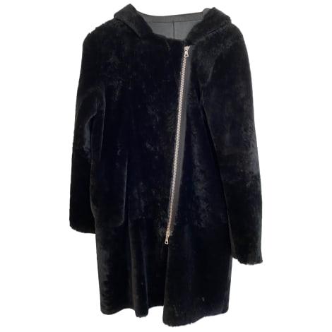 Manteau en cuir SANDRO Noir