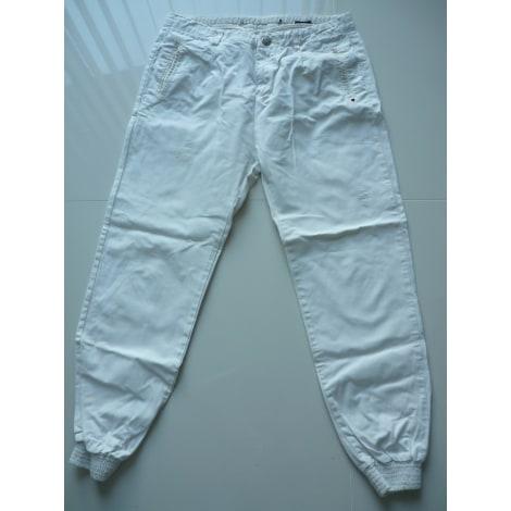 Pantalon large ZARA Blanc, blanc cassé, écru