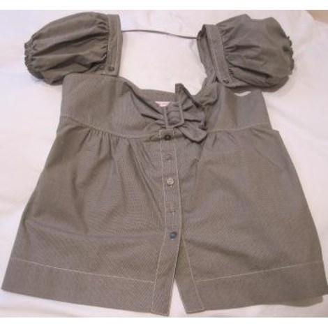 Top, tee-shirt HELENA SOREL petit pied de poule noir et gris