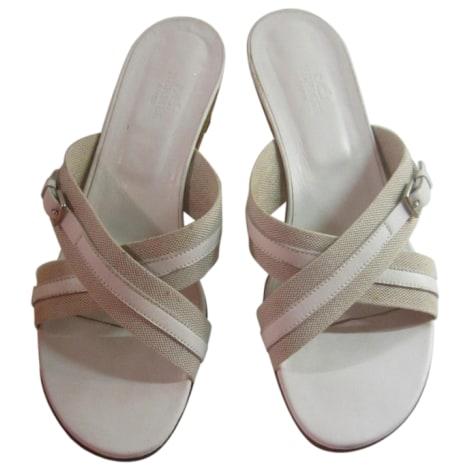 Sandales à talons HERMÈS Blanc, blanc cassé, écru