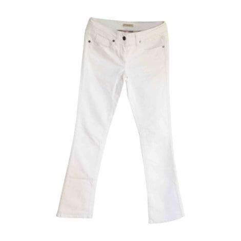 Pantalon slim, cigarette BURBERRY Blanc, blanc cassé, écru