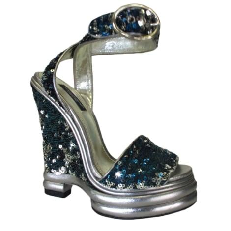 Sandales compensées DOLCE & GABBANA Argenté, acier