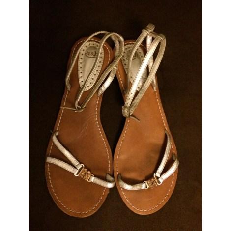 Sandales plates  ASH Doré, bronze, cuivre