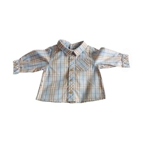 Blouse, Short-sleeved Shirt BURBERRY Tartan Burberry : Bleu pâle blanc camel'