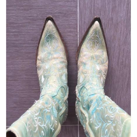 Santiags, bottes cowboy DAMY Turquoise vieilli