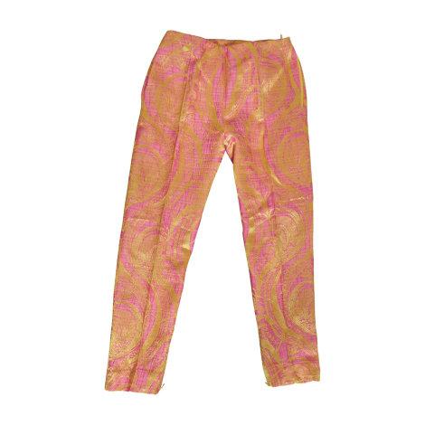 Pantalon large GIANFRANCO FERRE rose et jaune or