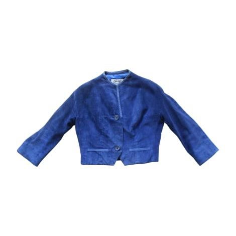 Veste en cuir HERMÈS Bleu, bleu marine, bleu turquoise