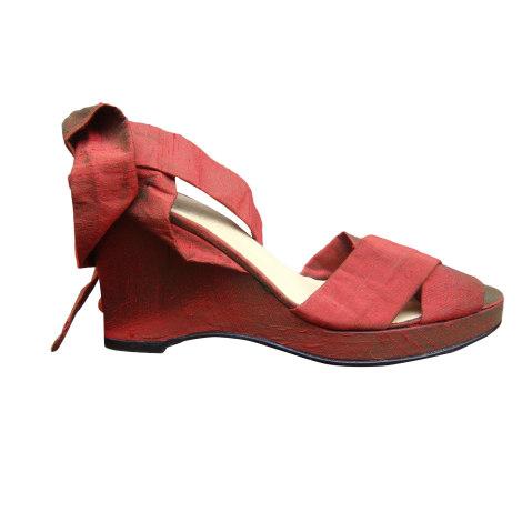 Sandales compensées NICOLE FAHRI Rouge, bordeaux