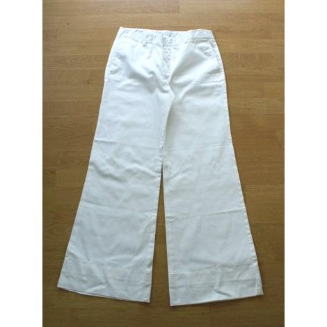 Pantalon droit ZARA Blanc, blanc cassé, écru