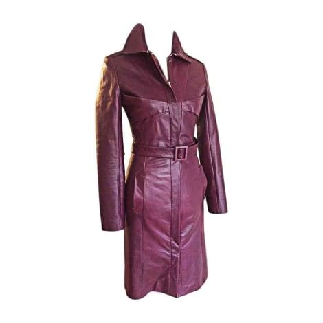 Manteau en cuir HUGO BOSS aubergine