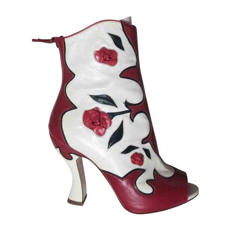 Bottines & low boots à talons MIU MIU Rouge, bordeaux