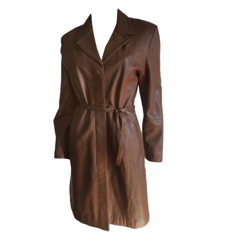 Manteau en cuir GIORGIO Doré, bronze, cuivre