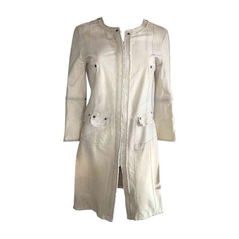 Manteau en cuir SYLVIE SCHIMMEL Blanc, blanc cassé, écru