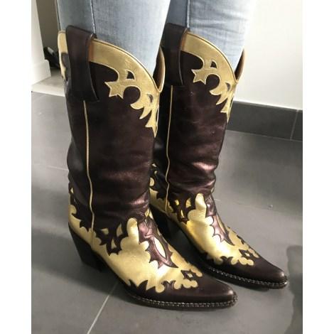 Santiags, bottines, low boots cowboy FREE LANCE Doré, bronze, cuivre