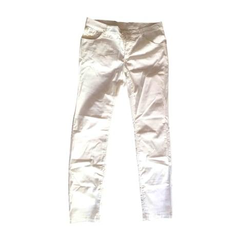 Pantalon slim, cigarette VERSACE Blanc, blanc cassé, écru