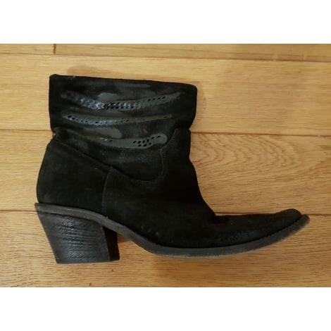 Santiags, bottines, low boots cowboy STRATEGIA Noir