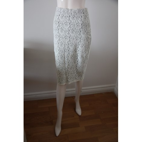 Jupe mi-longue ZARA Blanc, blanc cassé, écru