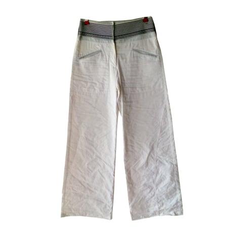 Pantalon large GIORGIO ARMANI Blanc, blanc cassé, écru