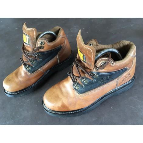 Bottines & low boots plates CATERPILLAR Marron clair graissé
