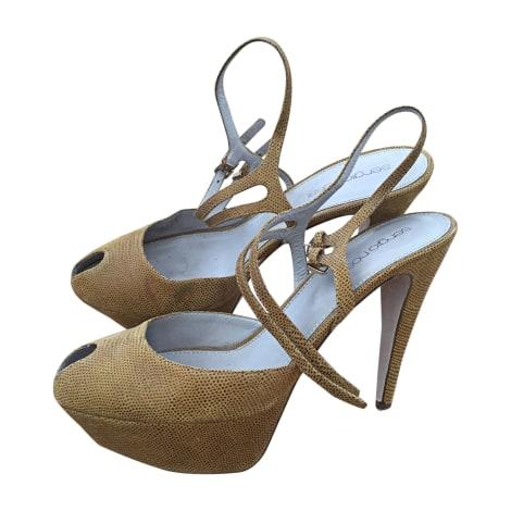 Sandales compensées SERGIO ROSSI Doré, bronze, cuivre
