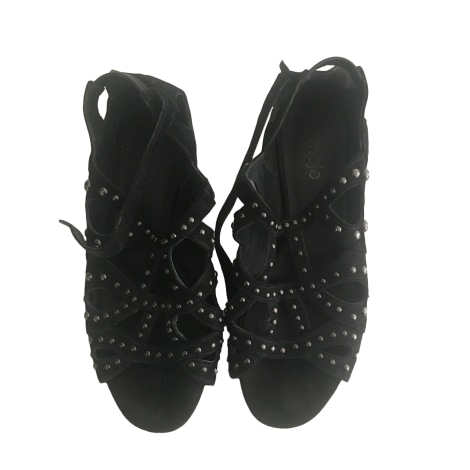 Sandales plates  MAJE Noir