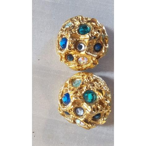 Boucles d'oreille JACKY DE G. Doré, bronze, cuivre