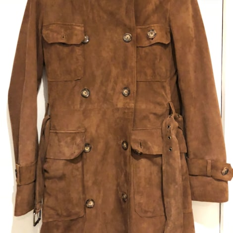 Manteau en cuir CAROLL Marron