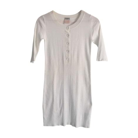 Robe courte CHANEL Blanc, blanc cassé, écru