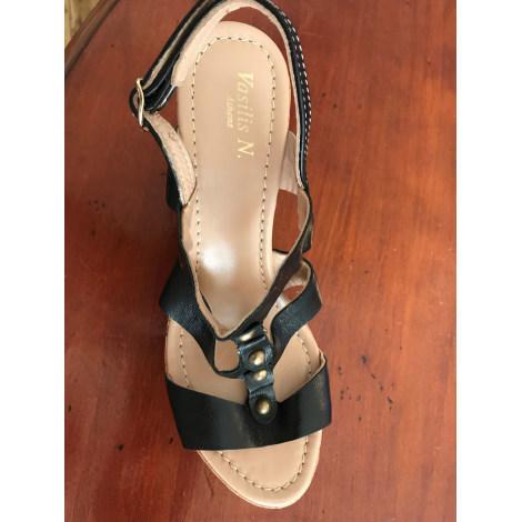 Sandales compensées MARQUE INCONNUE Noir