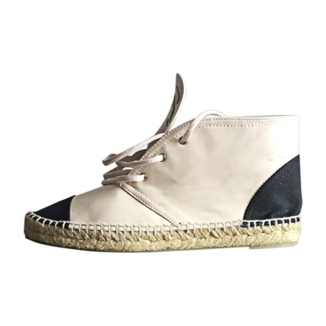 Lace Up Shoes CHANEL White, off-white, ecru