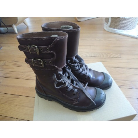 Bottines & low boots motards PALLADIUM Marron