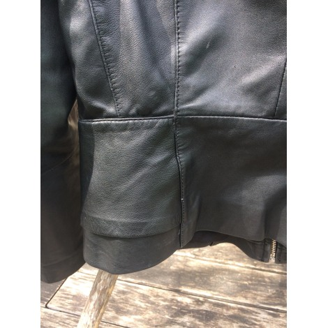 Veste en cuir MANGO Noir