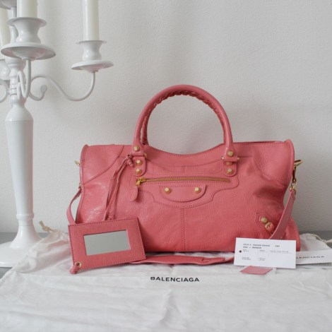 Lederhandtasche BALENCIAGA City Pink,  altrosa