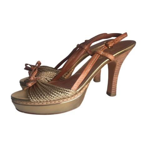 Escarpins à bouts ouverts PRADA Doré, bronze, cuivre
