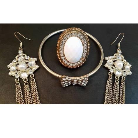 Parure bijoux H&M Doré, bronze, cuivre