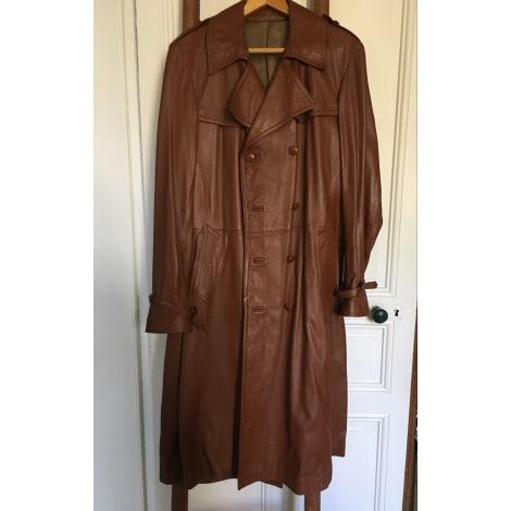 Manteau en cuir FOURRURE MAURICE CHOLET Beige, camel