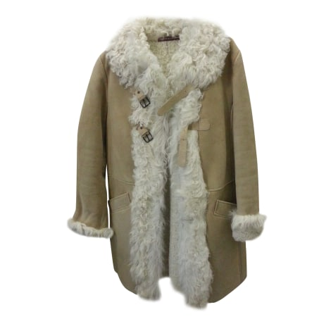 Manteau en cuir COMPTOIR DES COTONNIERS Beige, camel