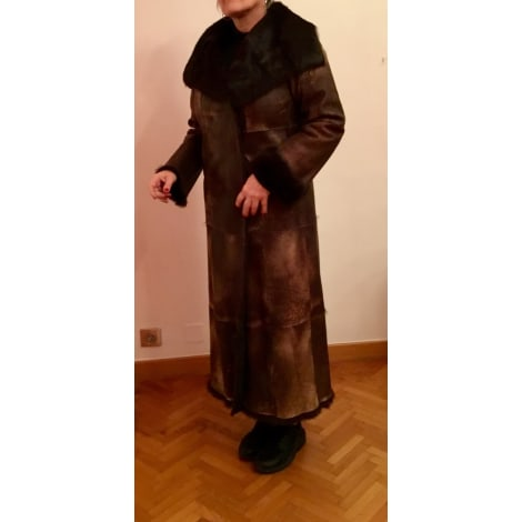 Manteau en cuir JOSEPH Marron