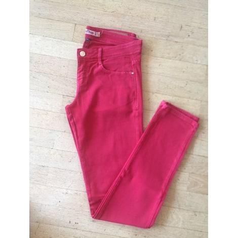 Pantalon slim, cigarette ZARA Rouge, bordeaux