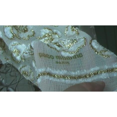 Foulard PACO RABANNE blanc brodé or