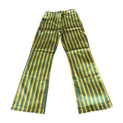 Pantalon évasé CHRISTIAN LACROIX rayé jaune vert