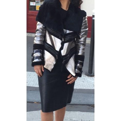Manteau en cuir BARBARA BUI Argenté, acier