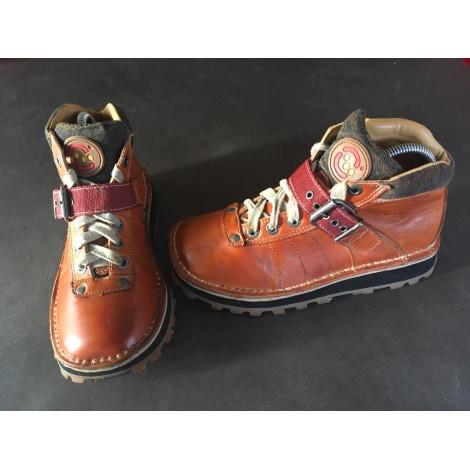 Bottines & low boots plates ART Marron clair patiné